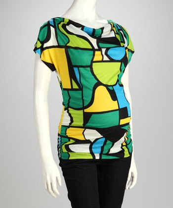 Green Geometric Maternity Drape Top - Women