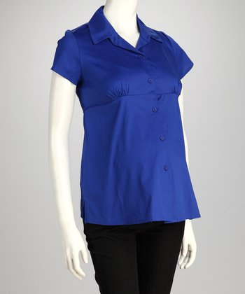 Royal Blue Maternity Button-Up
