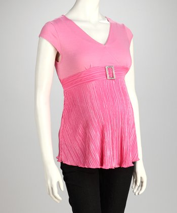 Pink Buckle Maternity Cap-Sleeve Top - Women