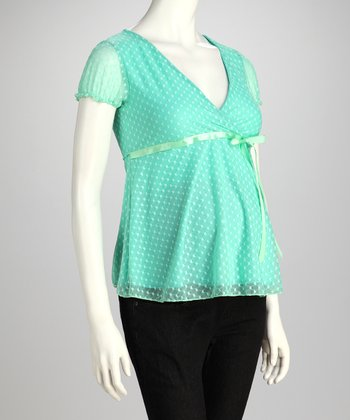 Jade Heart-Dot Maternity Babydoll Top
