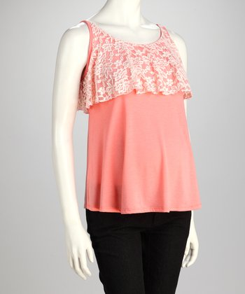 Peach Lace-Top Maternity Tank