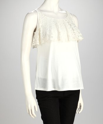 White Lace-Top Maternity Tank