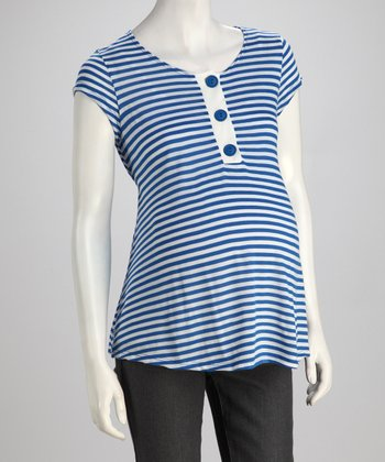 Royal Blue Stripe Maternity Henley