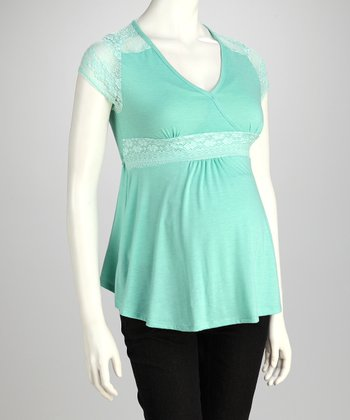 Aqua Lace Maternity Surplice Top