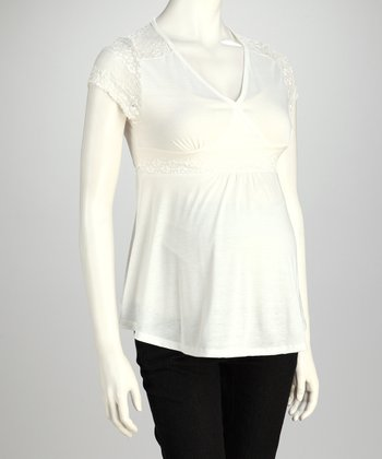 White Lace Maternity Surplice Top