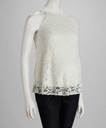 White Lace Maternity Top - Women