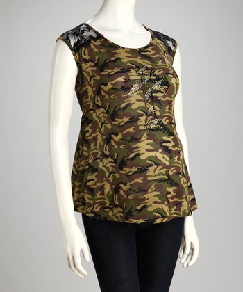 Olive Camo Maternity Top - Women