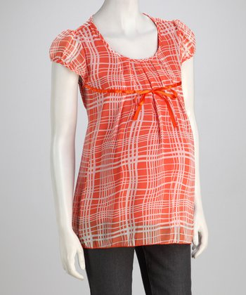 Orange Plaid Maternity Top