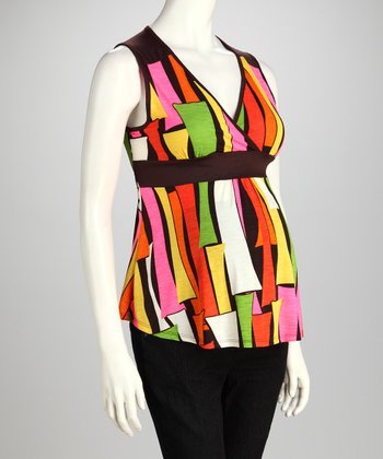 Orange Geometric Surplice Maternity Sleeveless Top - Women