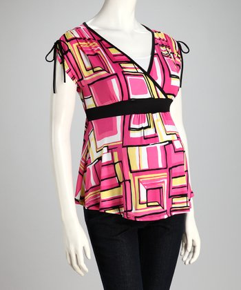 Fuchsia Geometric Maternity V-Neck Top