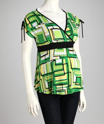 Green Geometric Maternity Surplice Top - Women