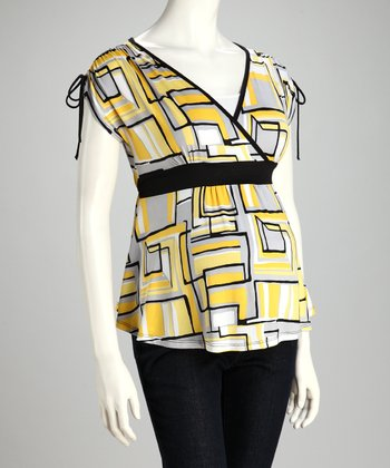 Yellow Geometric Maternity V-Neck Top