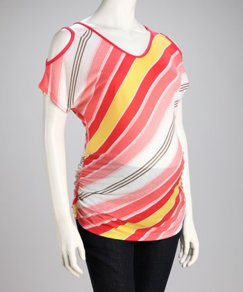 Coral Stripe Maternity Cutout Top