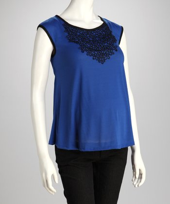 Blue Embroidered Maternity Cap-Sleeve Top