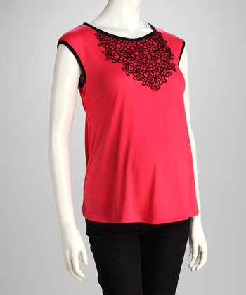 Coral Embroidered Maternity Cap-Sleeve Top