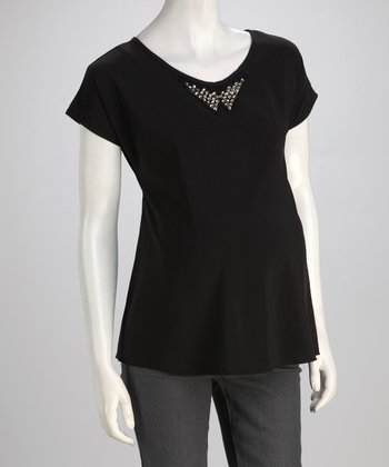 QT Black Studded Maternity Top
