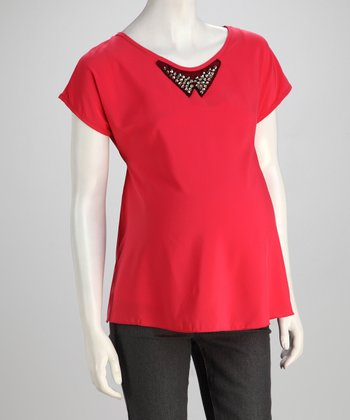 QT Coral Studded Maternity Top