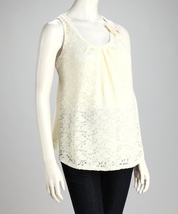 Ivory Lace Overlay Maternity Top