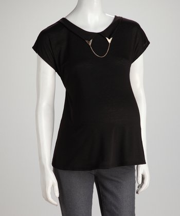 Black Chain Detail Maternity Top