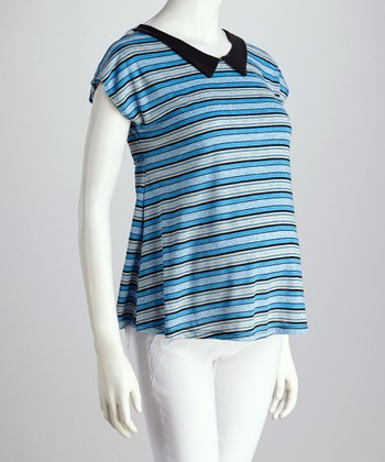 Blue Stripe Maternity Top - Women