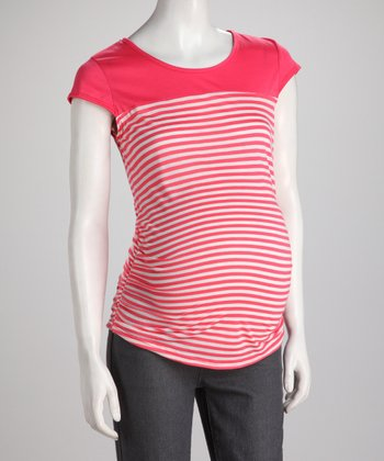 Coral Stripe Maternity Top