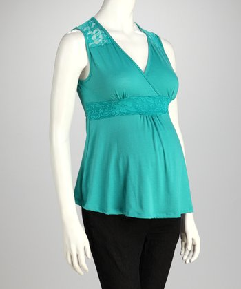 Aqua Surplice Maternity Sleeveless Top
