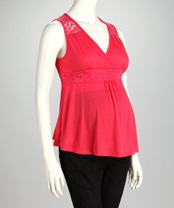Coral Surplice Maternity Sleeveless Top