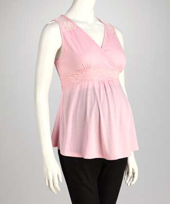 Pink Maternity Sleeveless Surplice Top
