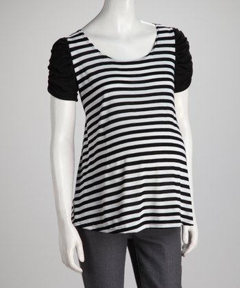 Black Stripe Ruched Maternity Top - Women