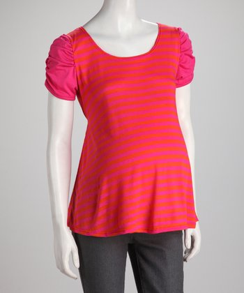 Fuchsia Stripe Ruched Maternity Top