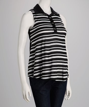 Black Stripe Maternity Sleeveless Top