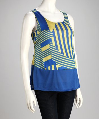 Blue Geometric Maternity Cutout Tank - Women