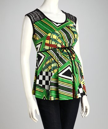 Green Geometric Maternity Top