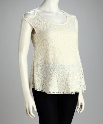 Ivory Lace Overlay Maternity Cutout Top