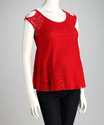 Red Overlay Lace Maternity Cutout Top