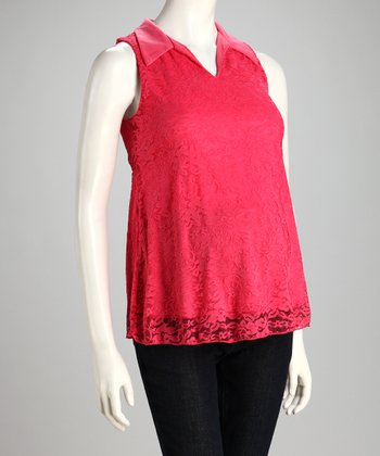 Coral Lace Collared Overlay Maternity Top
