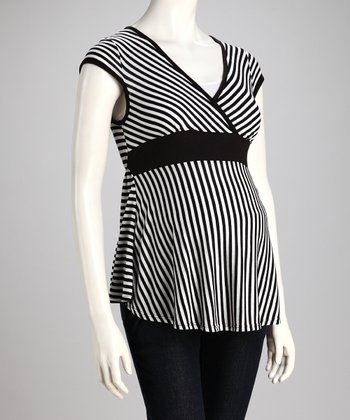 Black Stripe Maternity Top
