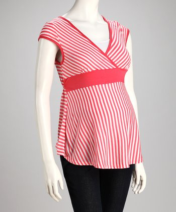 Coral Stripe Maternity Surplice Top