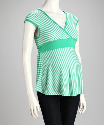 Jade Stripe Maternity Top