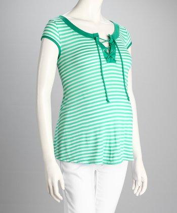 QT Maternity Jade Stripe Front-Tie Maternity Top - Women