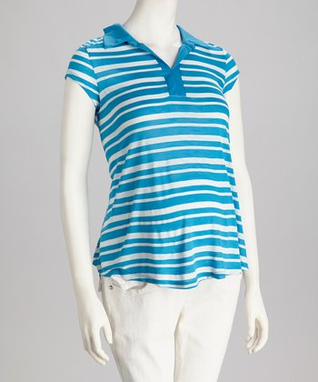 Turquoise & White Stripe Maternity Short-Sleeve Top
