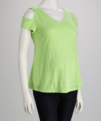 Lime Maternity Cutout Top - Women