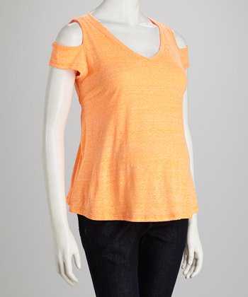 Orange Maternity Cutout Top - Women