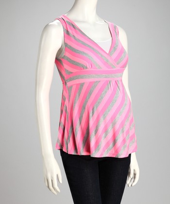 Pink & Gray Stripe Maternity Surplice Top