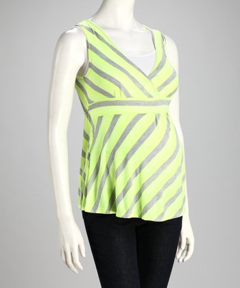 Yellow & Gray Stripe Maternity Surplice Top
