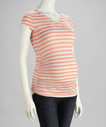 Peach Stripe 'I Love Baby' Maternity Short-Sleeve Top - Women