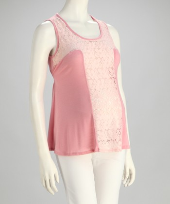 Peach Lace Panel Maternity Tank
