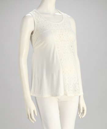 White Front Lace Maternity Tank - Women