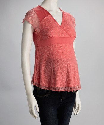 Coral Lace Maternity Top
