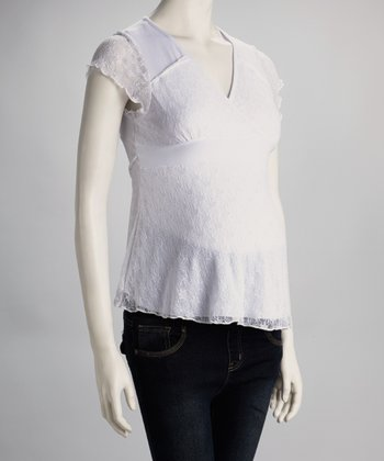 White Lace Overlay Maternity Top
